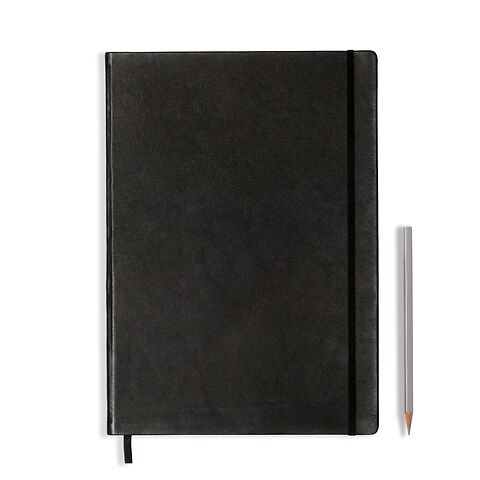 Notebook Master (A4+) Hardcover, 233 numbered pages, squared, leather, black