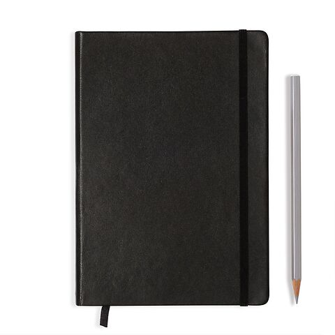 Notebook Medium (A5) Hardcover, Leather, 249 numbered pages, black, plain