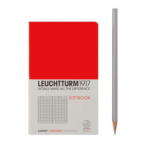 Jottbook Pocket (A6) 60 squared pages, 16 pages perforated, squared, red