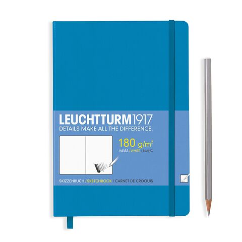 Sketchbook Medium (A5) plain,96 pages (180 g/qm), azure