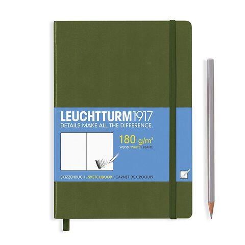 Sketchbook Medium (A5) plain, 96 pages (180 g/sqm), army ower