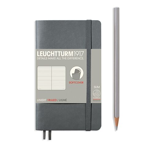 Notebook Pocket (A6) ruled, softcover, 121 numbegrey pages, anthracite grey
