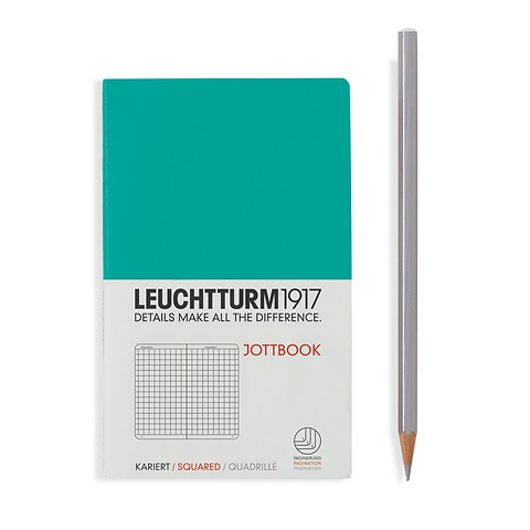 Jottbook Pocket (A6), 60 pages,16 pages perforated, squared, emerald