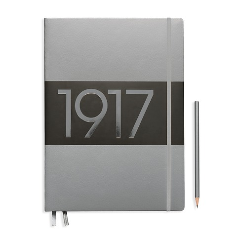 Notebook Master Slim (A4+), Hardcover, 123 numbered pages, Silver, ruled