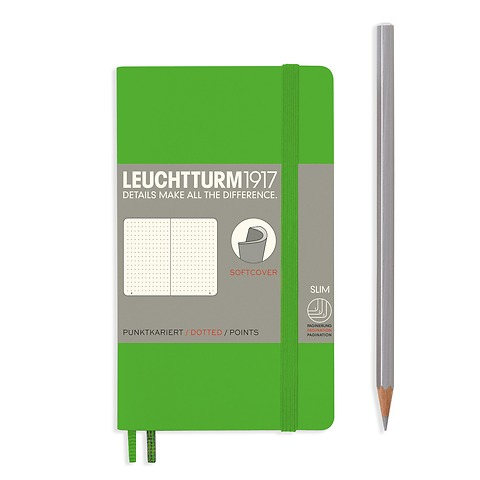 Notebook Pocket (A6), softcover, 123 numbered pages, Fresh Green, dotted
