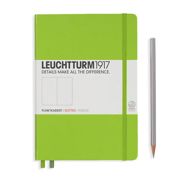 Notebook Medium (A5) Hardcover, 249 numbered pages, dotted, lime