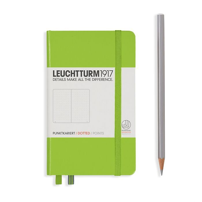 Notebook Pocket (A6) Hardcover, 185 numbered pages, dotted, lime