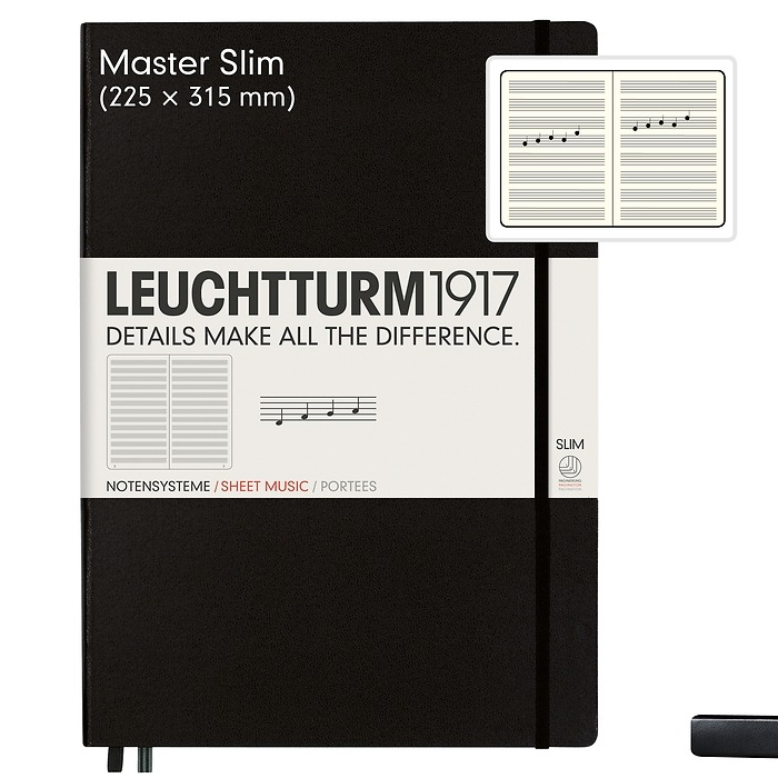 Notebook Master Slim (A4+) with staves, Hardcover, 121 numbered pages, black