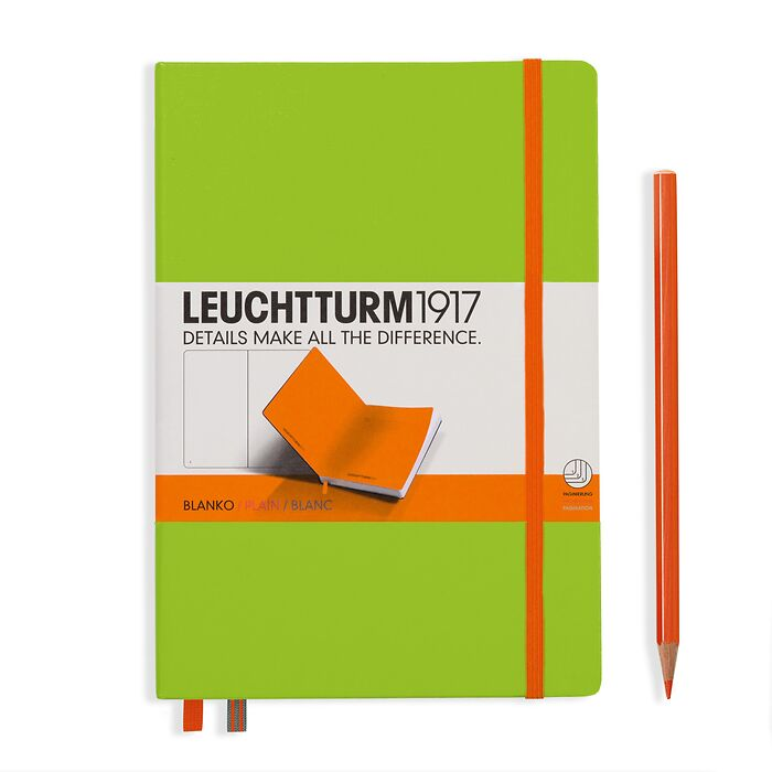 Notebook Medium (A5) Hardcover, lime with elastic enclosure+page marker in orange, plain