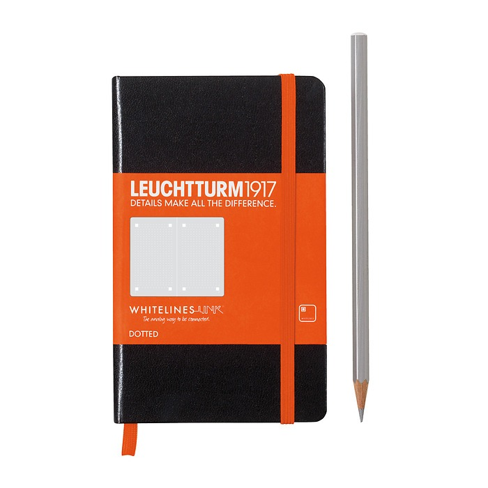 Notebook Pocket (A6), Hardcover, 185 num. pages, Black, dotted, Whitelines Link®
