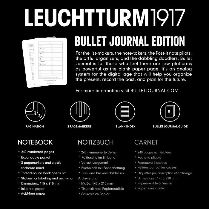 Bullet Journal Notebook Medium (A5), Hardcover, 240 num. pages, Black, dotted