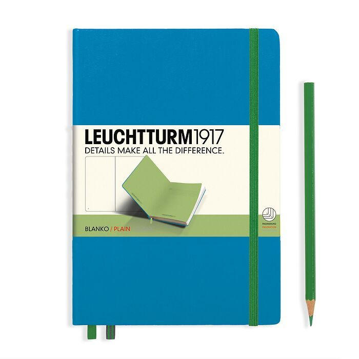 Notebook Medium (A5) Hardcover, azure w/elastic enclosure+page marker lime, plain