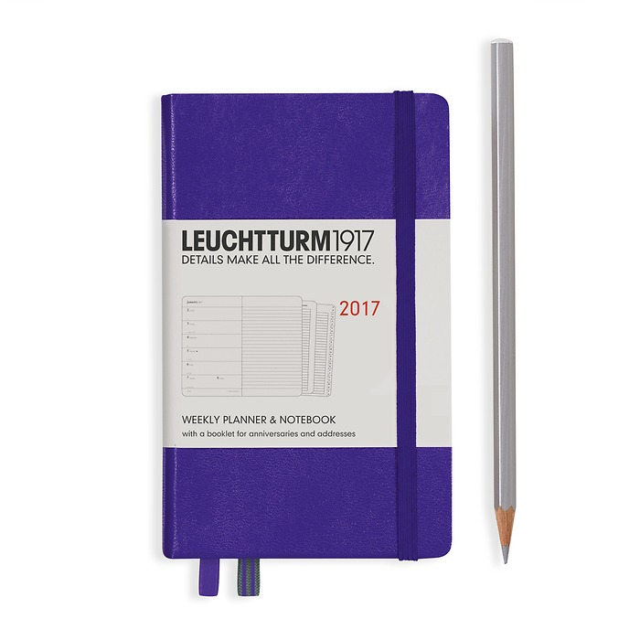 Weekly Planner + Notebook Pocket (A6) 2017 + extra booklet, purple, English