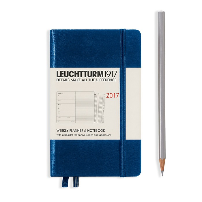Weekly Planner + Notebook Pocket (A6) 2017 + extra booklet, navy, English