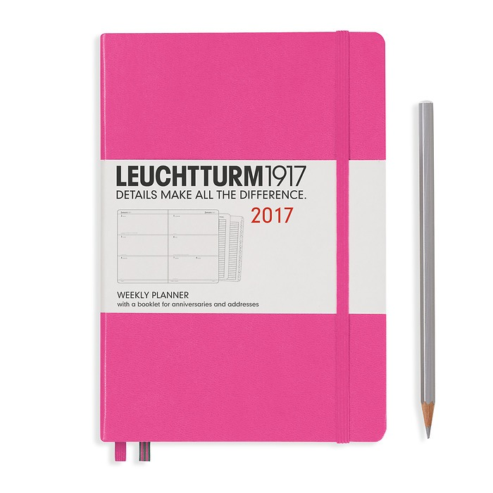 Weekly Planner Medium (A5) 2017 + extra booklet, new pink, English