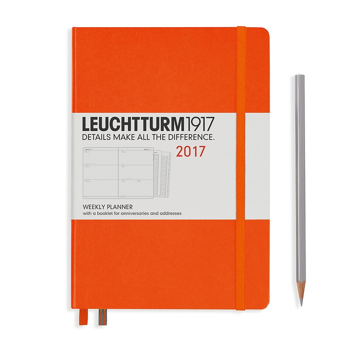 Weekly Planner Medium (A5) 2017 + extra booklet, orange, English