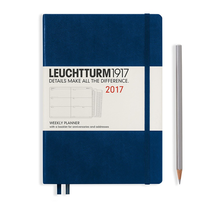 Weekly Planner Medium (A5) 2017 + extra booklet, navy, English