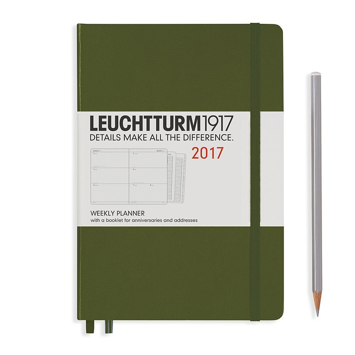 Weekly Planner Medium (A5) 2017 + extra booklet, army, English