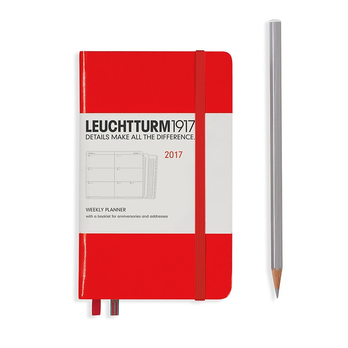 Weekly Planner Pocket (A6) 2017 + extra booklet, red, English
