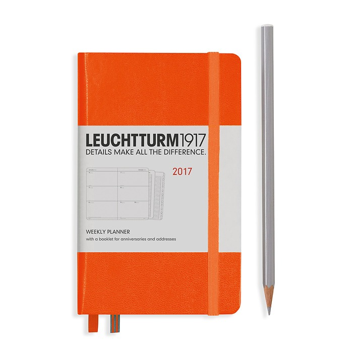 Weekly Planner Pocket (A6) 2017 +extra booklet, orange, English