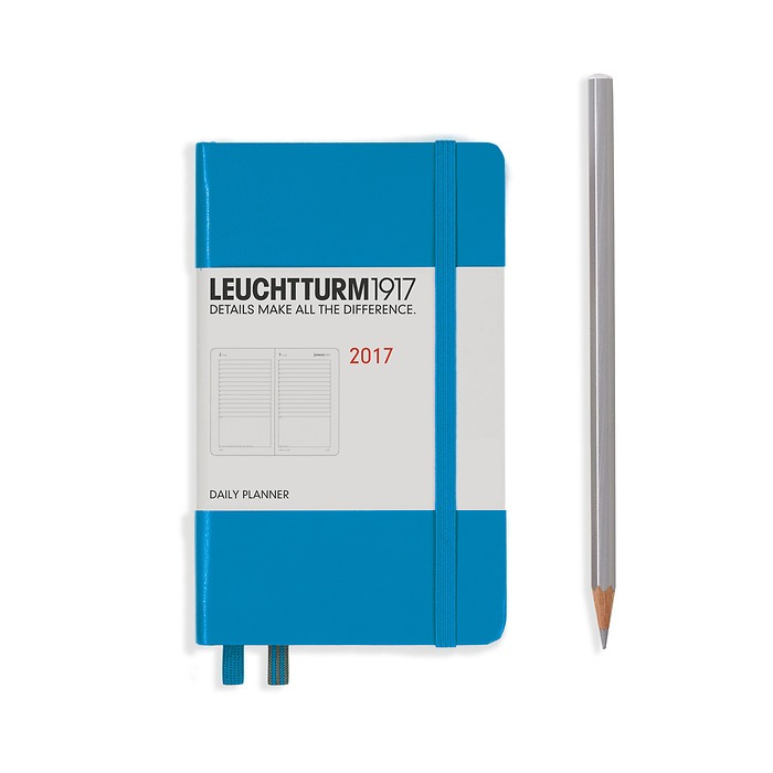 Daily Planner 12 Months Pocket (A6) 2017 azure, English