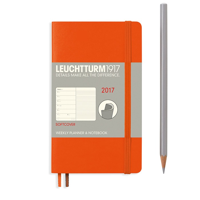 Weekly Planner + Notebook Softcover Pocket (A6) 2017, orange, English