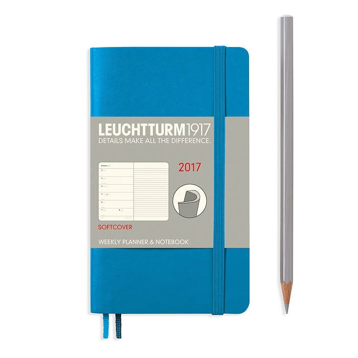Weekly Planner + Notebook Softcover Pocket (A6) 2017, azure, English