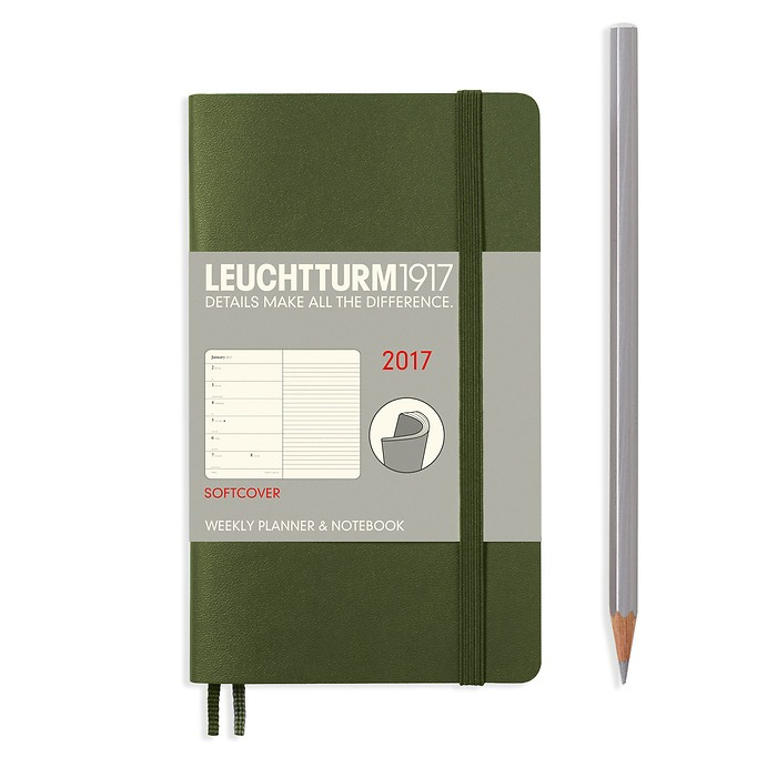 Weekly Planner + Notebook Softcover Pocket (A6) 2017, army, English