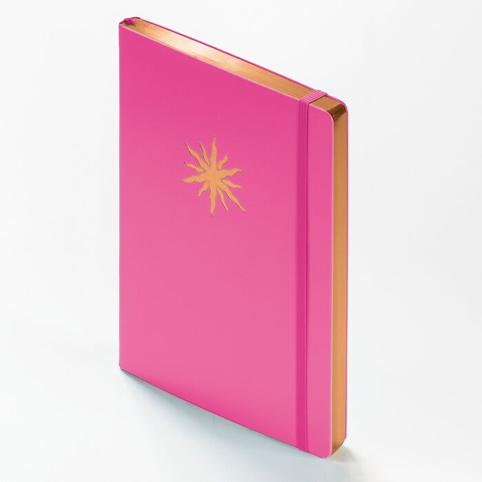 Notebook Medium (A5) Hardcover, 249 numbered pages, New Pink with copper edge, ruled