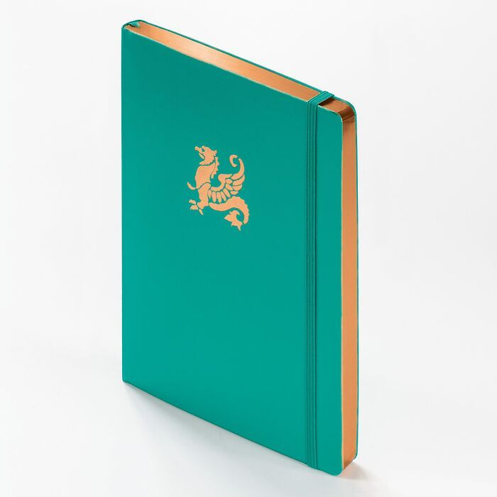 Notebook Medium (A5) Hardcover, 249 numbered pages, Emerald with copper edge, ruled