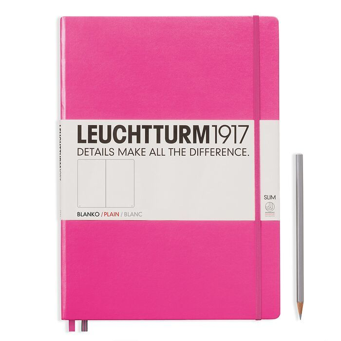 Notebook Master Slim (A4+) Hardcover, 121 numbered pages, plain, new pink
