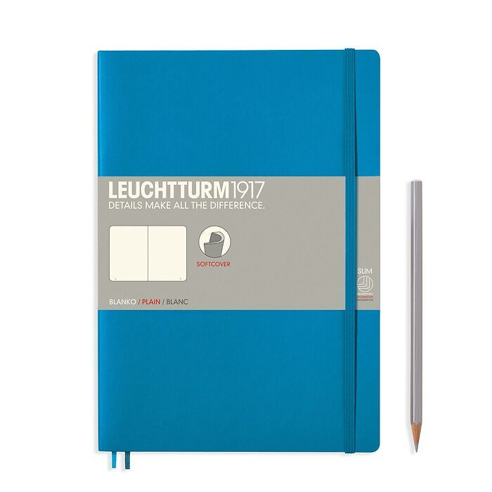 Notebook Composition (B5) ruled, softcover, 121 numbered pages, azure