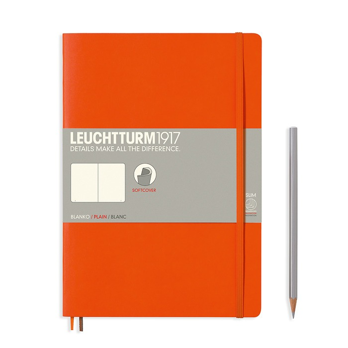 Notebook Composition (B5) plain, softcover, 121 numbered pages, orange