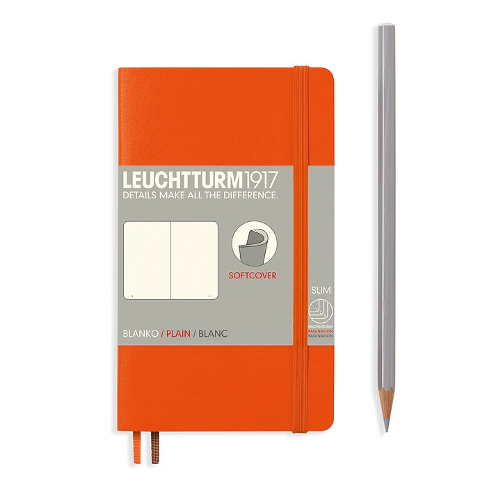 Notebook Pocket (A6), Softcover, 123 numbered pages, Orange, plain