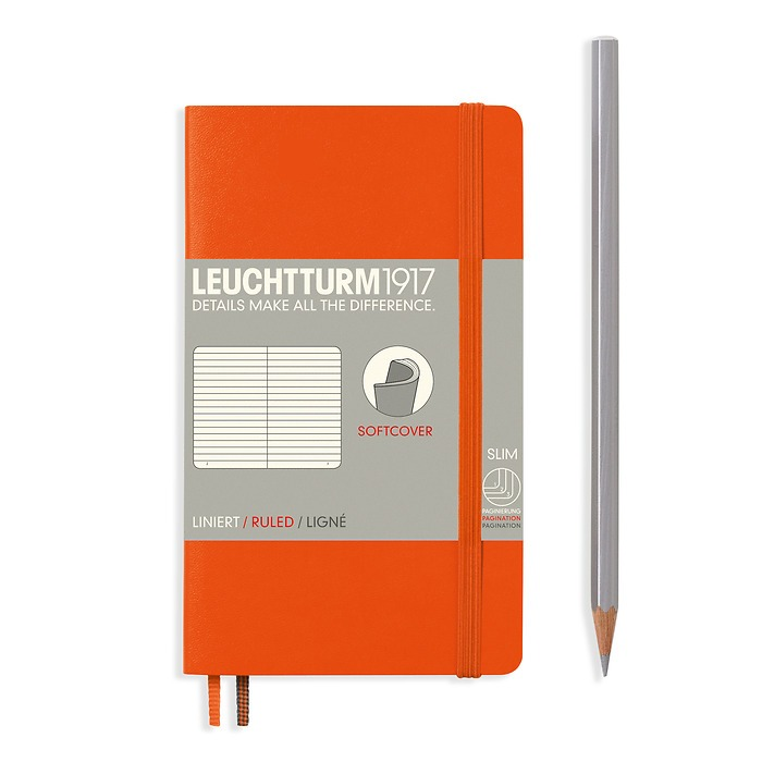 Notebook Pocket (A6), Softcover, 123 numbered pages, Orange, ruled