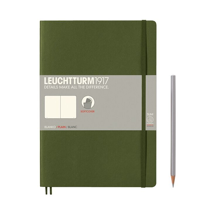 Notebook Composition (B5), Softcover, 123 numbered pages, Army, plain