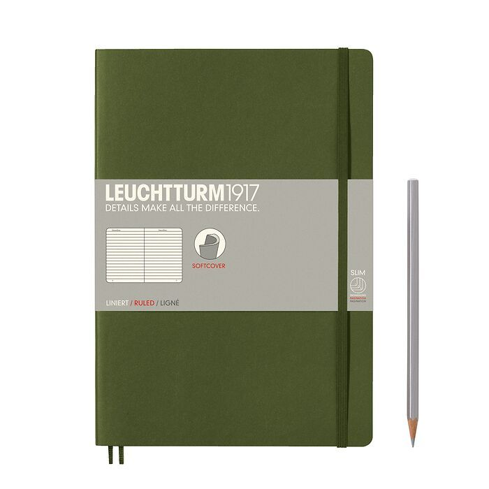 Notebook Composition (B5), Softcover, 123 numbered pages, Army, ruled