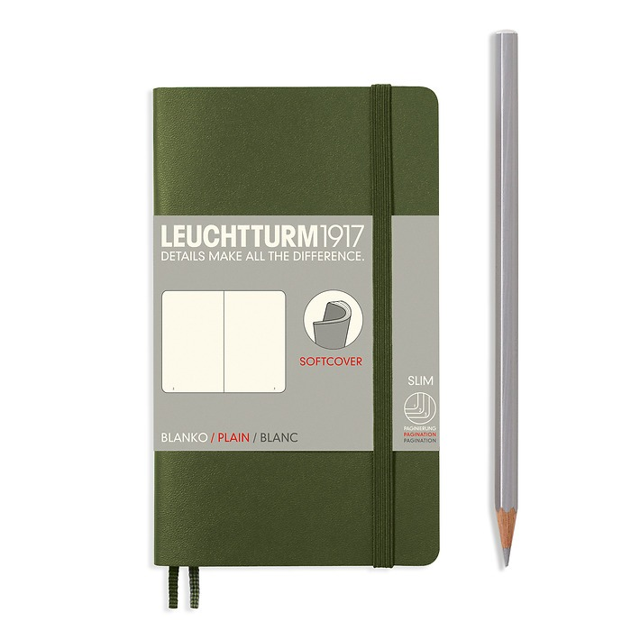 Notebook Pocket (A6), Softcover, 123 numbered pages, Army, plain