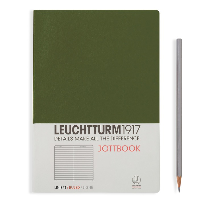 Jottbook Medium (A5), 60 pages,16 pages perforated, ligné, army