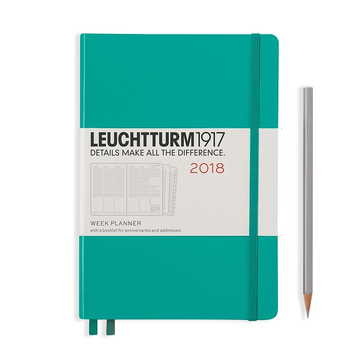 Week Planner 12 Months Medium(A5) 2018 + extra booklet, emerald, English