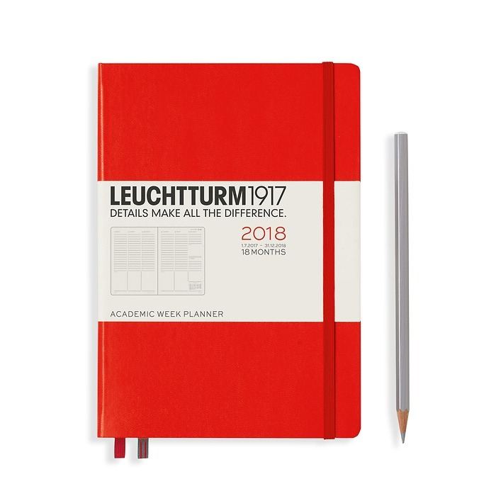 Academic Week Planner 18 Months Medium (A5) 2018, red, English