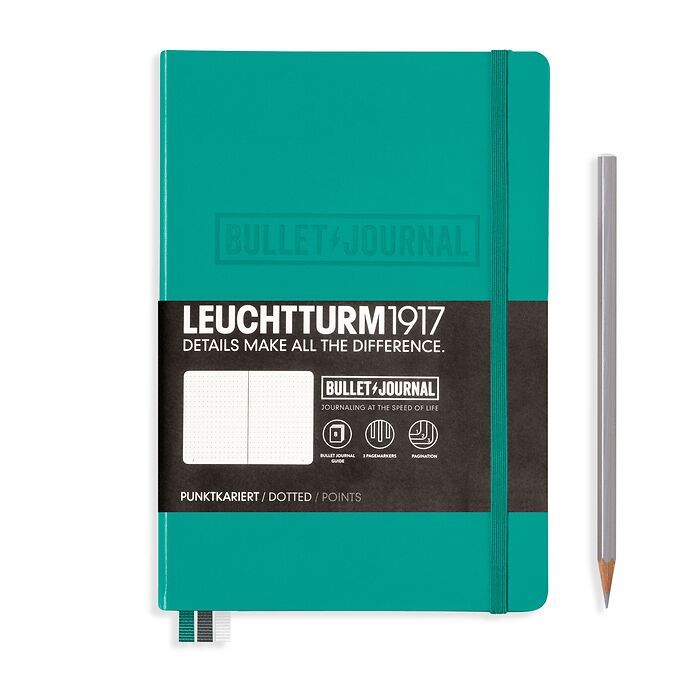 Bullet Journal Notebook Medium (A5), Hardcover, 240 num. pages, Emerald, dotted