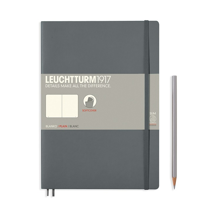 Notebook Composition (B5), Softcover, 123 numbered pages, Anthracite, plain