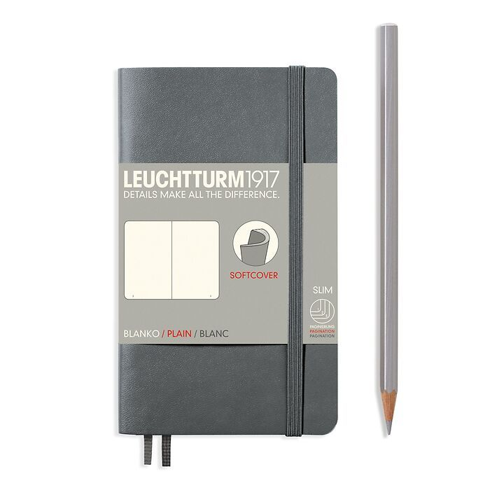 Notebook Pocket (A6) plain, softcover, 121 numbegrey pages, anthracite grey