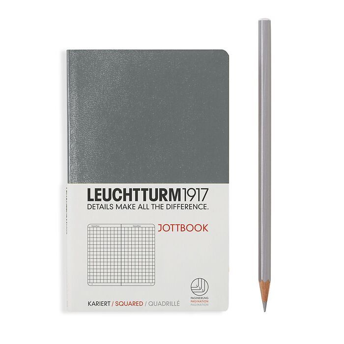 Jottbook Pocket (A6), 60 numbered pages, 16 perforated pages, Anthracite, squared