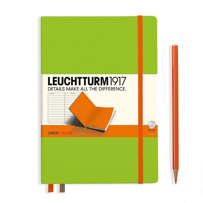 Notebook Medium (A5) Hardcover, lime with elastic enclosure+page marker in orange, ruled