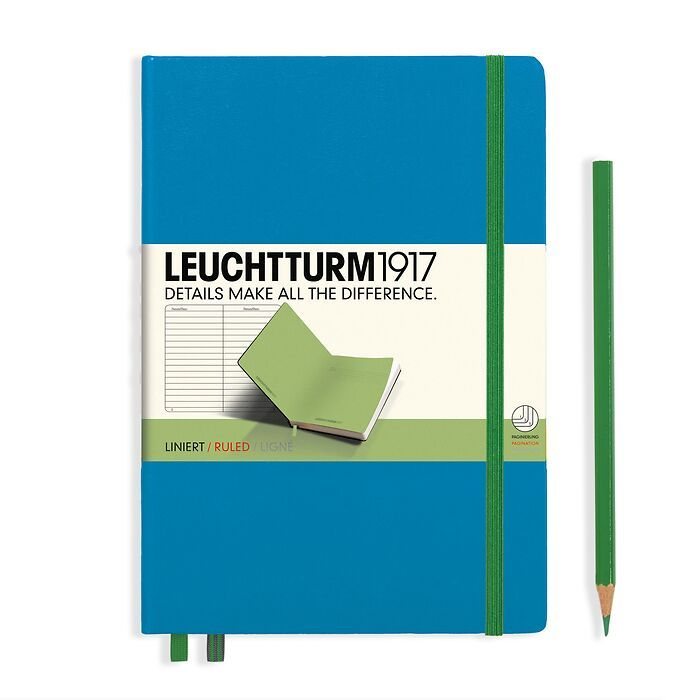 Notebook Medium (A5) Hardcover, azure w/elastic enclosure+page marker lime, ruled