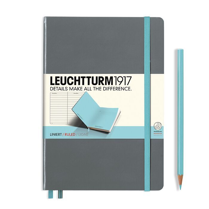 Notebook Medium (A5) ruled, Hardcover, Anthracite + Light blue