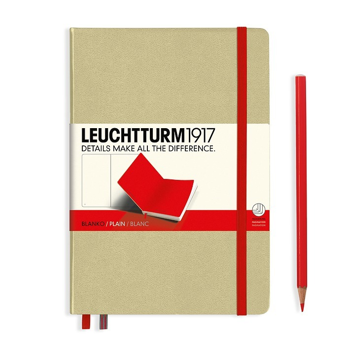 Notebook Medium (A5) Hardcover, sand with elastic enclosure+page marker in red, plain