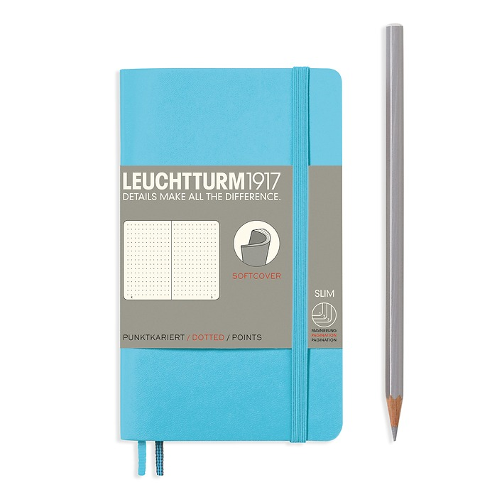 Notebook Pocket (A6) dotted, softcover, 123 numbegrey pages, ice blue